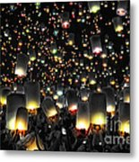 The Floating Lanterns In Thailand. Metal Print