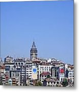 The Galata Tower And Istanbul City Skyline In Turkey   Metal Print