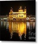 The Golden Temple At Amritsar At Night Metal Print