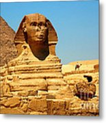 The Great Sphinx Of Giza And Pyramid Of Khafre Metal Print