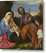 The Holy Family With A Shepherd Metal Print