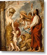 The Israelites Gathering Manna In The Desert Metal Print