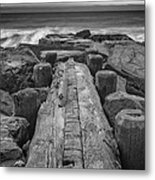 The Jetty In Black And White Metal Print