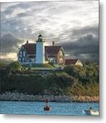 The Light At Nobska Point Photo Art Metal Print