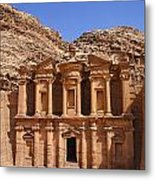 The Monastery Sculpted Out Of The Rock At Petra In Jordan Metal Print