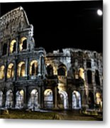 The Moon Above The Colosseum No2 Metal Print