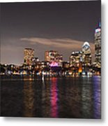 The Prudential Lit Up In Red White And Blue Metal Print