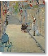 The Rue Mosnier With Flags Metal Print