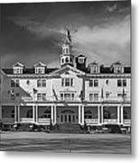 The Stanley Hotel Panorama Bw Metal Print