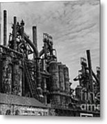 The Steel Mill In Black And White Metal Print
