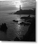The Sun Is Setting Behind The Pigeon Point Light Station Near Ano Nuevo Metal Print
