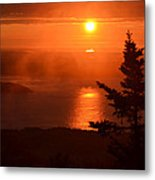 The Sunrise From Cadillac Mountain In Acadia National Park Metal Print