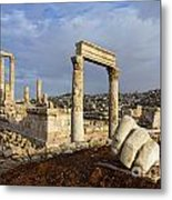 The Temple Of Hercules And Sculpture Of A Hand In The Citadel Amman Jordan Metal Print by Robert Preston
