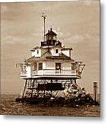 Thomas Point Shoal Lighthouse Sepia No. 2 Metal Print