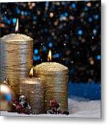 Three Gold Candles In Snow  Metal Print