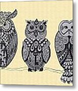 Three Owls On A Branch Metal Print