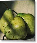 Three Pears Green Metal Print