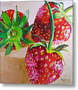 Three Strawberries Metal Print