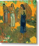 Three Tahitian Women Against A Yellow Background Metal Print