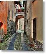Tight Alley With A Bridge Metal Print