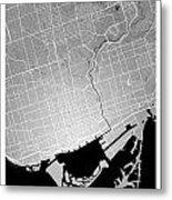 Toronto Street Map - Toronto Canada Road Map Art On Colored Back Metal Print