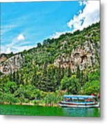 Tourboat Stops By Ancient Tombs In Daylan-turkey  Metal Print