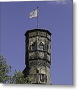 Tower And Flag Cologne Germany Metal Print