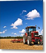 Tractor In Plowed Field Metal Print