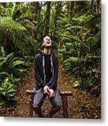 Travel Man Laughing In Tasmania Rainforest Metal Print