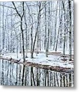 Tree Line Reflections In Lake During Winter Snow Storm Metal Print
