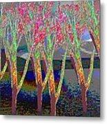 Trees Around Faal Season  Digitally Painted Photograph Taken Around Poconos  Welcome To The Pocono M Metal Print