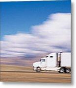 Truck On The Road, Interstate 70, Green Metal Print