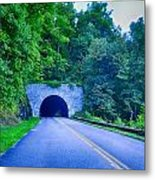 Tunnel Through Mountains On Blue Ridge Parkway In The Morning Metal Print
