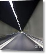 Tunnel With Light Metal Print