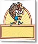 Turkey Run Runner Side Cartoon Isolated Metal Print by Aloysius Patrimonio