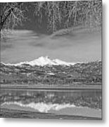Twin Peaks Longs And Meeker Lake Reflection Bw Metal Print