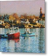 Two Lobster Boats On Marblehead Harbor With A Red Sky Metal Print