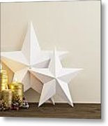 Two Stars With Gold Candles Metal Print