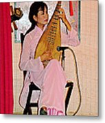 Two-stringed Lute Player At Wedding Ceremony Show In Binh Quoi Village-vietnam  Metal Print