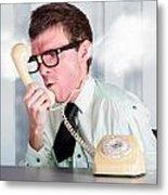 Unhappy Nerd Businessman Yelling Down Retro Phone Metal Print