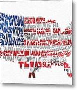 United States Typographic Map Flag Metal Print