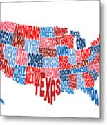 United States Typography Text Map Metal Print by Michael Tompsett