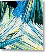 Urea Or Carbamide Crystals In Polarized Light Metal Print