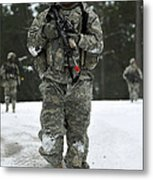 U.s. Army Soldier Conducts A Dismounted Metal Print