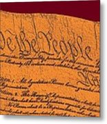 Us Constitution Closeup Sculpture Violet Red Background Metal Print by L Brown