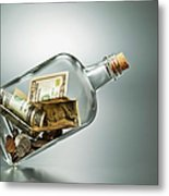 Us Dollar Banknotes  In A Bottle Metal Print