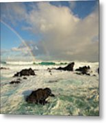 Usa, Hawaii, Rainbow Offshore Metal Print