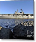 Uss Bataan Arrives At Naval Station Metal Print