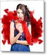 Valentines Day Woman Eating Heart Candy Metal Print