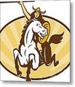 Valkyrie Riding Horse Retro Metal Print